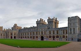 Обои Англия, Небо, Облака, Трава, Замок, Здание, Архитектура