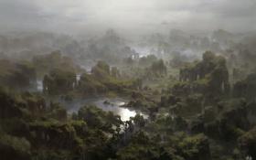 Картинка пейзаж, панорама, водопад, арт, зелень, вид, вода