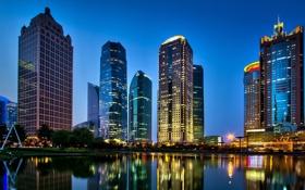 Картинка ночь, город, огни, парк, река, China, здания