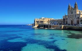 Обои город, St. Julian s, побережье, дома, фото, Мальта, море