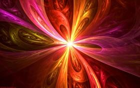 Картинка свет, лучи, узор, фрактал, цвет