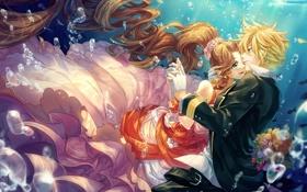 Картинка девушка, цветы, пузыри, букет, аниме, арт, парень