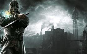 Обои кинжал, город, маска, капюшон, Dishonored, мужчина
