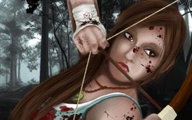Обои взгляд, девушка, игра, лук, арт, стрела, Tomb Raider