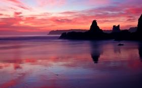 Обои розовый, закат, скалы, вечер, брег, море