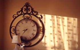 Обои время, стрелки, часы, лампа, олень, настенные