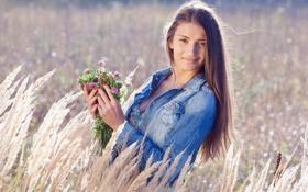 Картинка лето, цветы, настроение, девочка