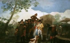 Картинка музыка, люди, картина, жанровая, Франсиско Гойя, Слепой Гитарист
