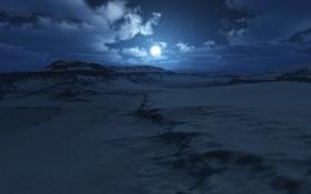 Обои зима, снег, ночь, луна