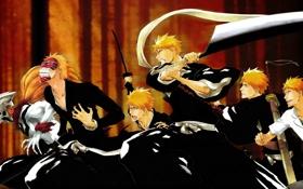 Картинка аниме, рыжий, парень, эволюция, bleach, anime, блич