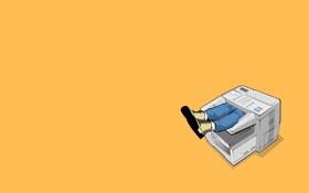 Обои желтый, ноги, техника, work, humorous, stories, факс