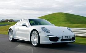 Картинка car, 911, Porsche, Carrera 4, white, road, Coupe