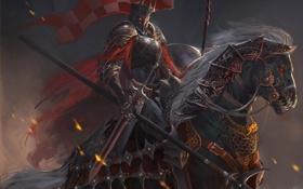 Обои конь, меч, арт, шлем, всадник, копье, доспех