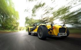 Картинка Желтый, Машина, Скорость, Caterham, Supersport R, В Движение