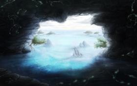 Картинка вода, деревья, камни, арт, пещера, грот