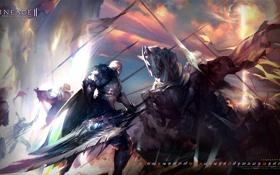 Обои эльф, человек, меч, всадник, битва, Lineage 2, lineage