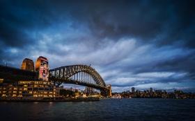 Картинка мост, Австралия, Сидней, ночной город, Australia, Sydney, Sydney Harbour Bridge