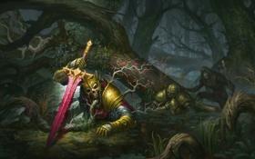 Обои лес, деревья, болото, меч, корона, труп, странник