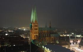 Картинка панорама, дома, Любек, церковь, ночь, Германия, огни