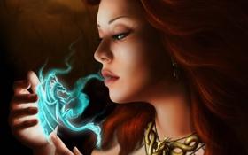 Обои девушка, дыхание, рыжая, арт, магия, фэнтези, дракон