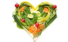 Обои зелень, креатив, сердце, лук, овощи, морковь, редиска