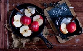 Обои яблоки, сахар, сковорода
