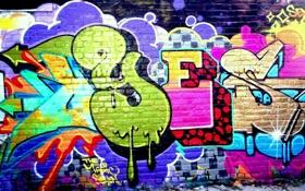 Обои yes, стена, графити