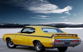 Обои небо, облака, мускул кар, вид сзади, Muscle car, GSX, Buick