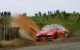 Обои Красный, Машина, Поворот, Грязь, Citroen, Брызги, WRC