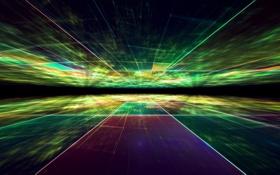 Обои темнота, свет, разноцветные лучи, Абстракция, огни