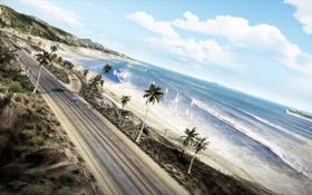 Картинка дорога, пляж, пальмы, океан, трасса, яхта, Need for Speed: Hot Pursuit