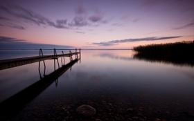 Картинка камни, берег, пирс, рассвет, пристань, озеро