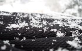 Обои зима, ткань, снежинки, макро