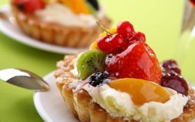Обои еда, клубника, пирог, крем, десерт, ежевика, сладкое