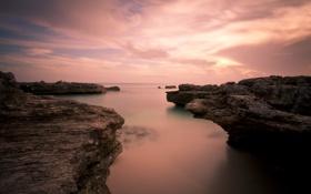 Картинка пейзаж, природа, океан, скалы, рассвет