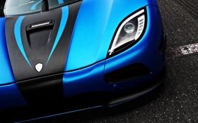 Обои синий, фара, Koenigsegg, суперкар, agera r
