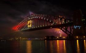 Картинка ночь, мост, город, река, фото, салют, Австралия