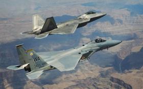 Обои Raptor, F-22, F-15, истребители, полёт, Eagle