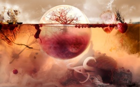 Обои pink, bubble, tree, fruits, brain, aquarium