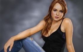 Обои сидя, актриса, Lindsay Lohan, арт, девушка, джинсы