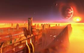 Обои город, будущее, планета, Фантастика