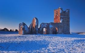 Обои зима, руины, снег, развалины, небо