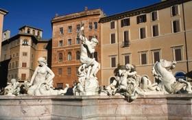 Обои дома, Рим, Италия, фонтан, Пьяцца Навона