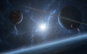 Картинка звезды, поверхность, свет, планеты, кольца, спутники, spaceships
