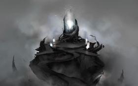 Обои птицы, корни, туман, скала, люди, магия, арт