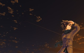 Обои небо, девушка, закат, самолет