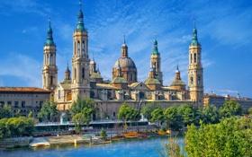 Обои река, набережная, Сарагоса, Zaragoza, River Ebro, Basilica of Our Lady of the Pillar, храм