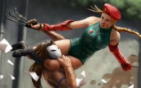 Обои девушка, бой, арт, драка, Cammy, Street Fighter, Street Fighter 4