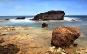 Обои дно, Камни, вода, море