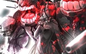 Картинка девушка, оружие, монстр, зубы, аниме, арт, цепи